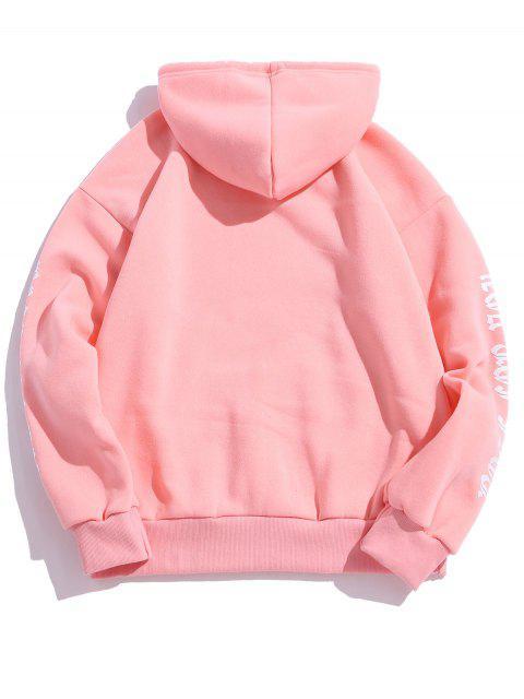 Rose Buchstabe Vlies Känguru Tasche Pullover Hoodie - Rosa M Mobile