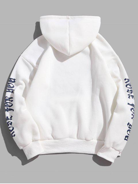 Hoodie deCarta Rose velo Kangaroo bolso do pulôver - Branco M Mobile