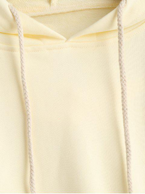 women's Drawstring Drop Shoulder Cropped Hoodie - YELLOW M Mobile