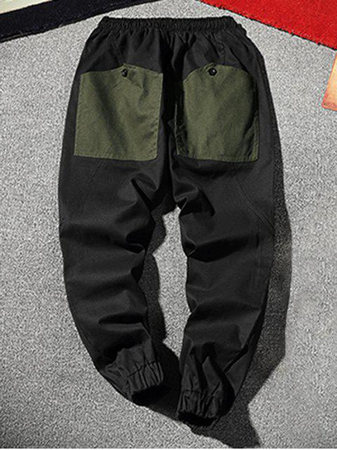 womens Color Blocking Spliced Drawstring Casual Jogger Pants - ARMY GREEN L Mobile