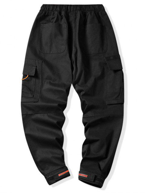 Jogger Pantalones de Estampado de Letras y Zipper - Negro M Mobile