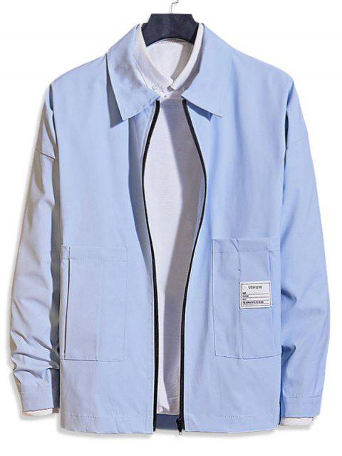 outfits Pocket Decoration Zip Up Casual Jacket - LIGHT BLUE M Mobile