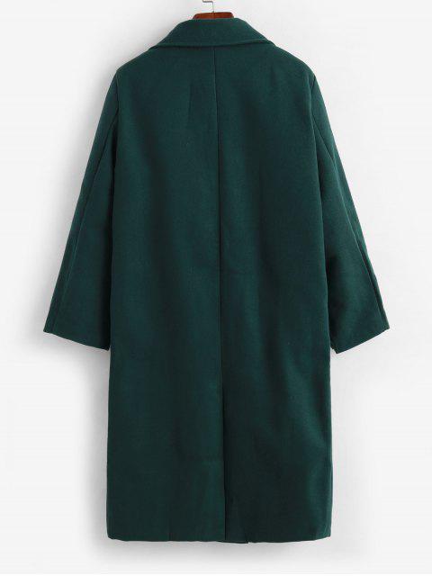 Manteau à Double Boutonnage avec Poches Cousues en Laine - Vert Mer M Mobile