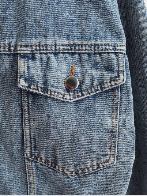 Hombro del botón caída frontal bolsillos con solapa de la chaqueta del dril de algodón - Azul M Mobile