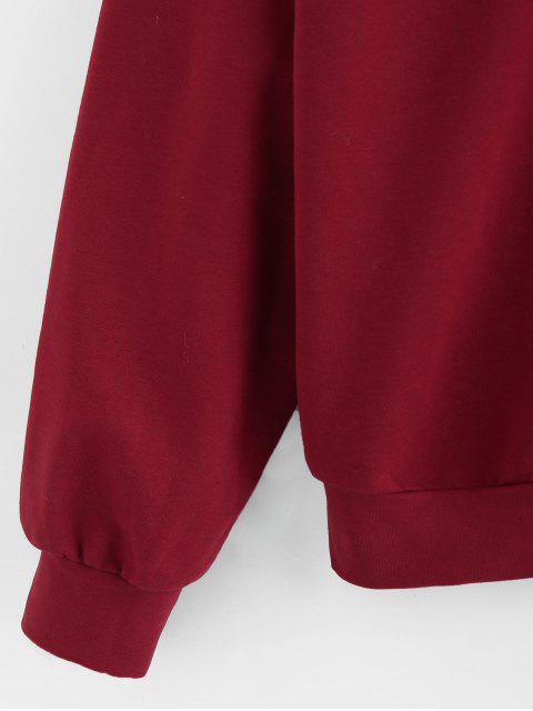 online ZAFUL Christmas Elk Drop Shoulder Pullover Sweatshirt - RED WINE M Mobile