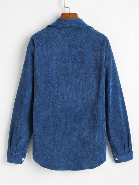 Veste Chemise Boutonnée en Velours avec Poche - Paon Bleu S Mobile