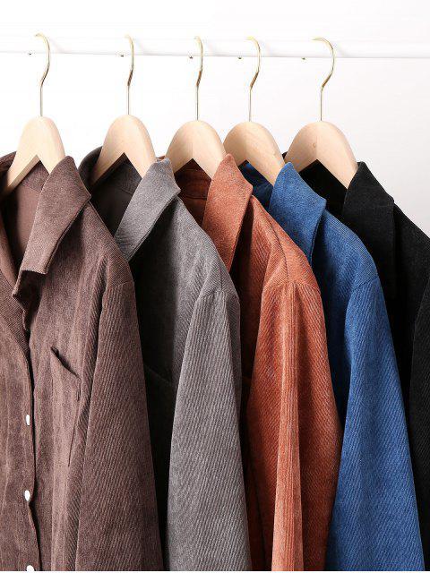 Botón de pana del bolsillo de la chaqueta encima de la camisa - Gris S Mobile