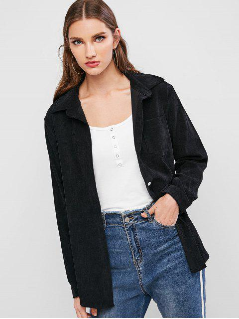 outfit Corduroy Pocket Button Up Shirt Jacket - BLACK L Mobile