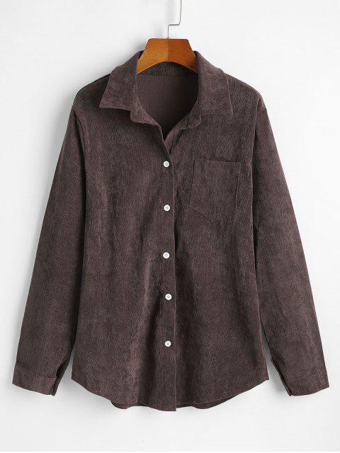 shop Corduroy Pocket Button Up Shirt Jacket - OAK BROWN 3XL Mobile