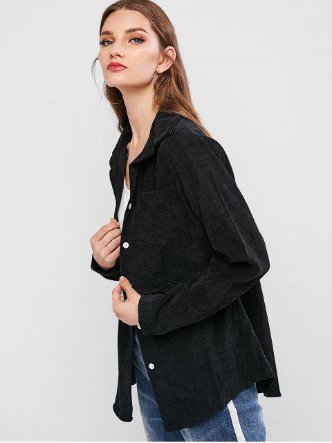 fashion Corduroy Pocket Button Up Shirt Jacket - BLACK S Mobile