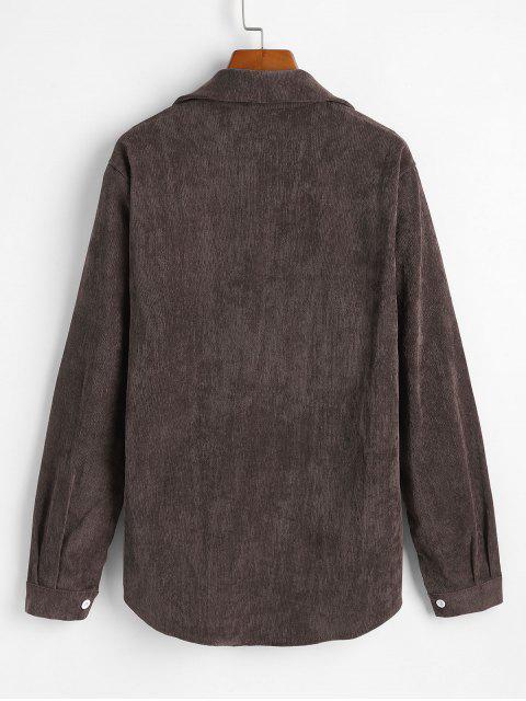 fancy Corduroy Pocket Button Up Shirt Jacket - OAK BROWN XL Mobile