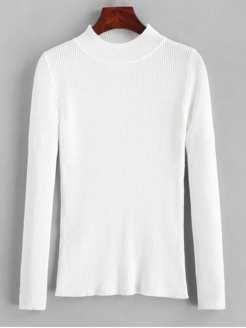 women's Ribbed Mock Neck Slim Knitted Sweater - WHITE ONE SIZE Mobile