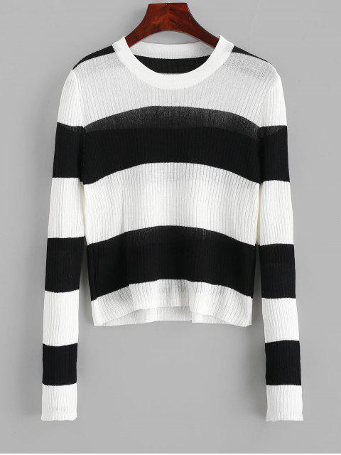 online Contrast Two Tone Striped Knitwear - BLACK ONE SIZE Mobile