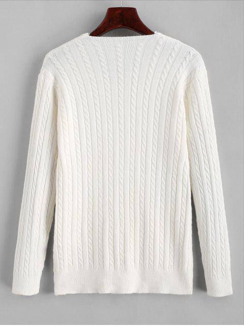 fancy V Neck Cable Knit Jumper Sweater - WHITE ONE SIZE Mobile