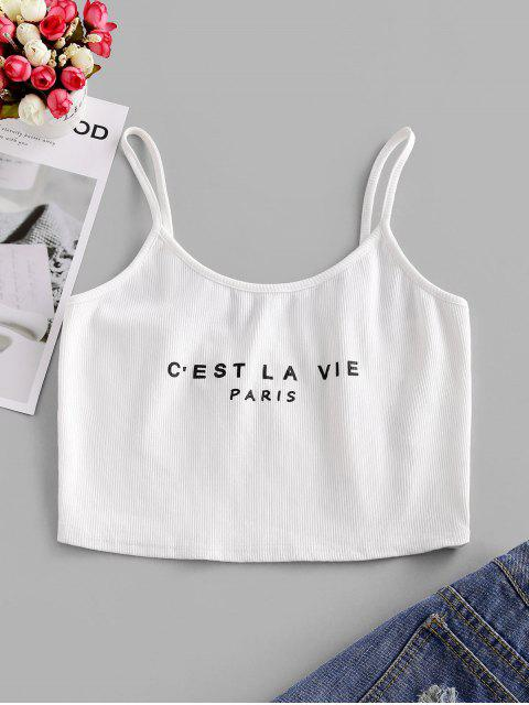 shop ZAFUL Letter Graphic Ribbed Crop Camisole - WHITE S Mobile