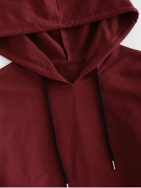 outfits ZAFUL Drawstring Hooded Drop Shoulder Shorts Set - RED WINE L Mobile