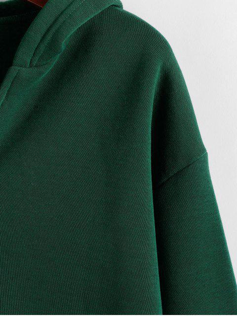 Fleece forrado hombro ZAFUL gota llano con capucha - Verde Oscuro S Mobile