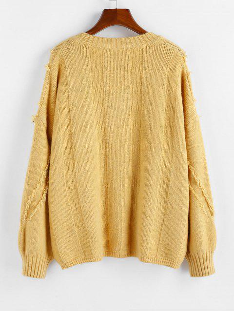buy ZAFUL Frayed Detail Drop Shoulder V Neck Sweater - YELLOW L Mobile