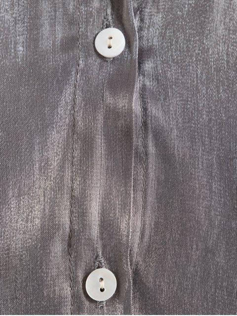 Botón encima de la cosecha brillante camisa arrugada - Plata Talla única Mobile
