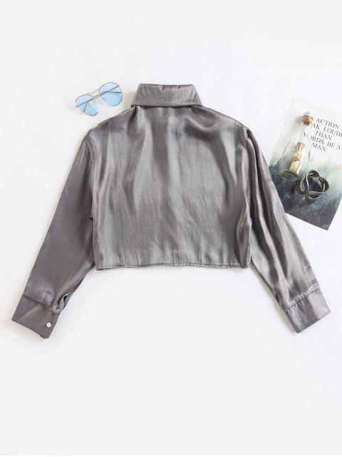 buy Button Up Crop Shiny Crinkly Shirt - SILVER ONE SIZE Mobile