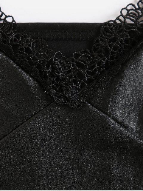 outfit PU Leather Lace Panel Bustier Cami Top - BLACK L Mobile