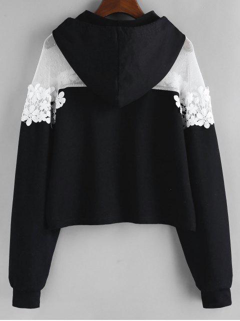 Hombro con capucha ZAFUL flor de encaje gota Guipure - Negro XL Mobile