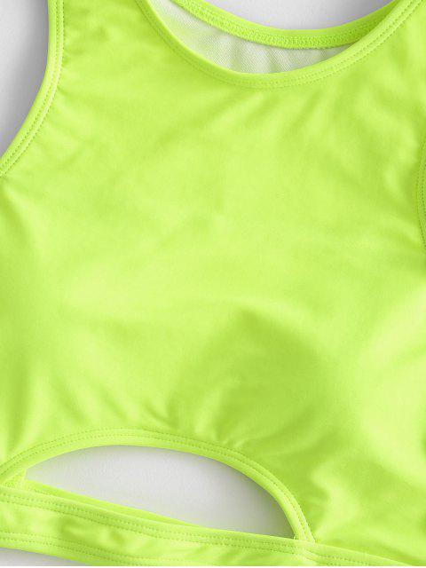 ZAFUL Colorblock recorte de Control de Abdomen Tankini del traje de baño - Verde Amarillo 2XL Mobile