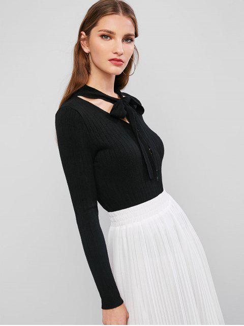 lady Bow Tie V Neck Mock Button Sweater - BLACK ONE SIZE Mobile