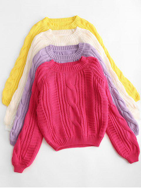 chic Solid Crew Neck Raglan Sleeve Cable Knit Sweater - YELLOW ONE SIZE Mobile