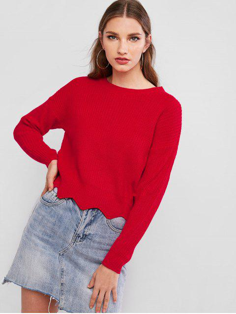 latest Zigzag Hem Solid Loose Sweater - RED ONE SIZE Mobile