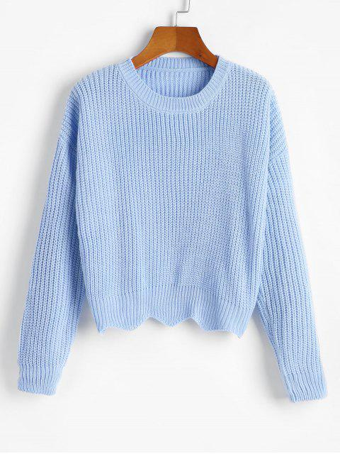 women Zigzag Hem Solid Loose Sweater - BABY BLUE ONE SIZE Mobile