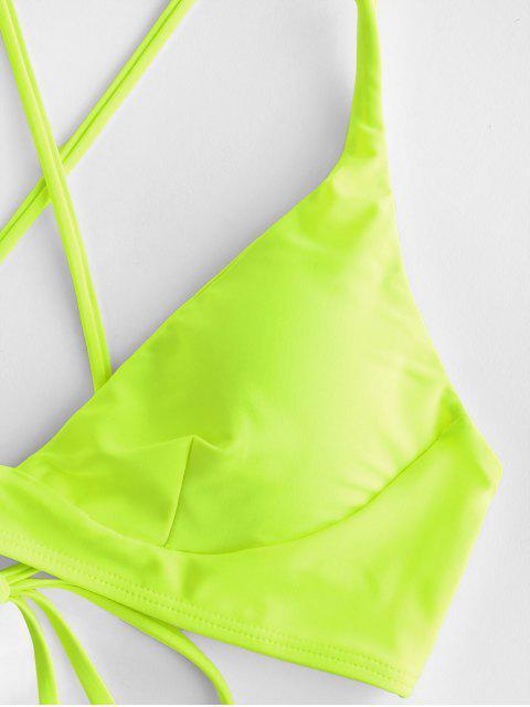 ZAFUL Colorblock十字交叉比基尼泳衣扎頭髮 - 黃綠色 L Mobile