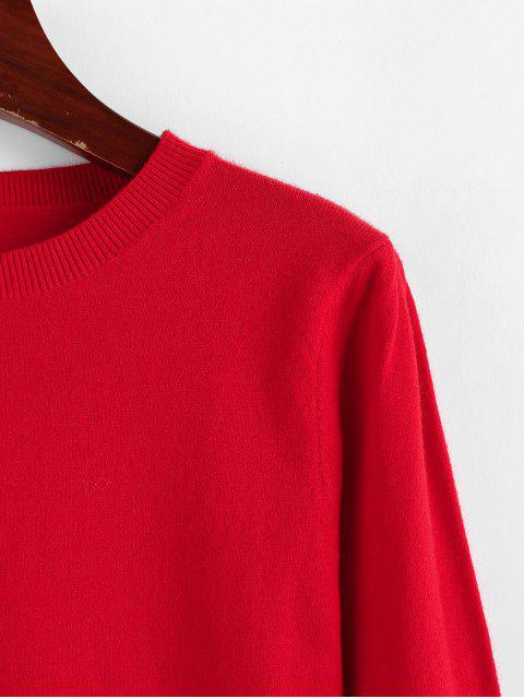 new ZAFUL Christmas Crew Neck Plain Knit Sweater - LAVA RED M Mobile