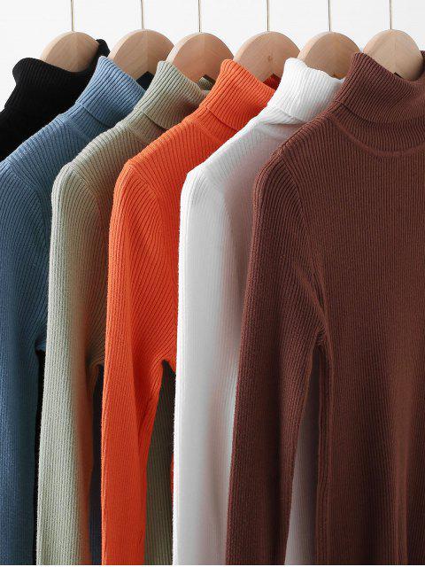 unique Turtleneck Ribbed Slim Knit Plain Sweater - WHITE ONE SIZE Mobile