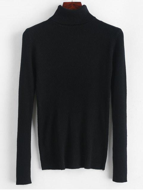 womens Turtleneck Ribbed Slim Knit Plain Sweater - BLACK ONE SIZE Mobile