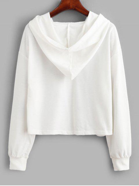 new ZAFUL Funny Unicorn Print Drop Shoulder Hoodie - WHITE M Mobile
