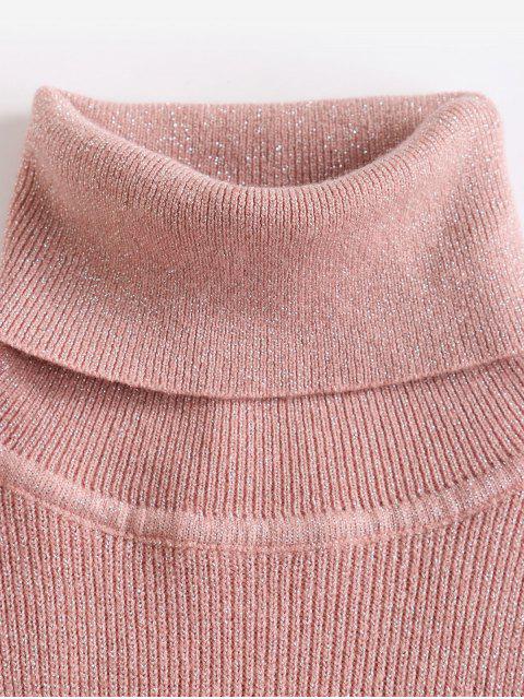 閃光針織高領合身毛衣 - 淡粉色 One Size Mobile