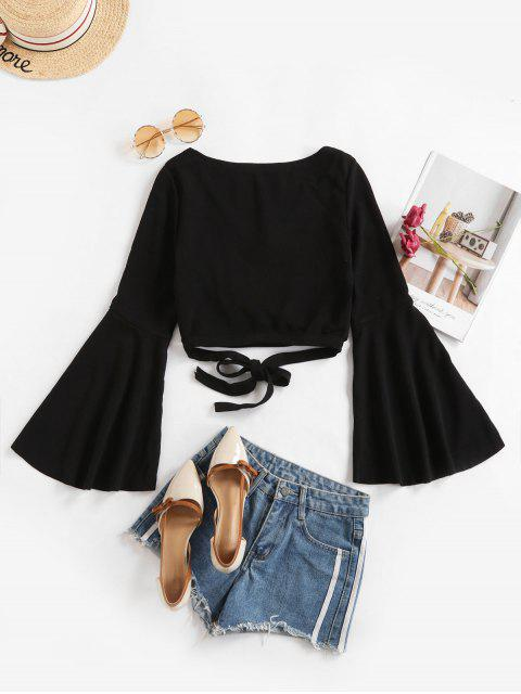 unique Knotted Criss Cross Flare Sleeve Cropped Top - BLACK M Mobile