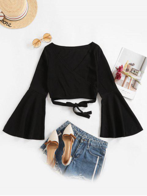 buy Knotted Criss Cross Flare Sleeve Cropped Top - BLACK L Mobile