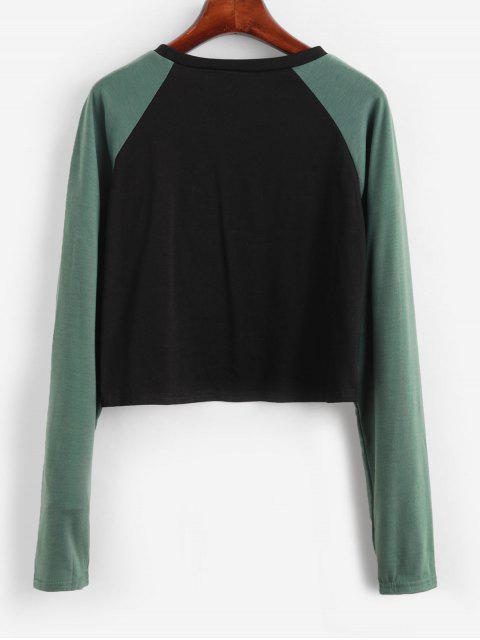 trendy Color-blocking Graphic Raglan Sleeve Tee - BLACK M Mobile