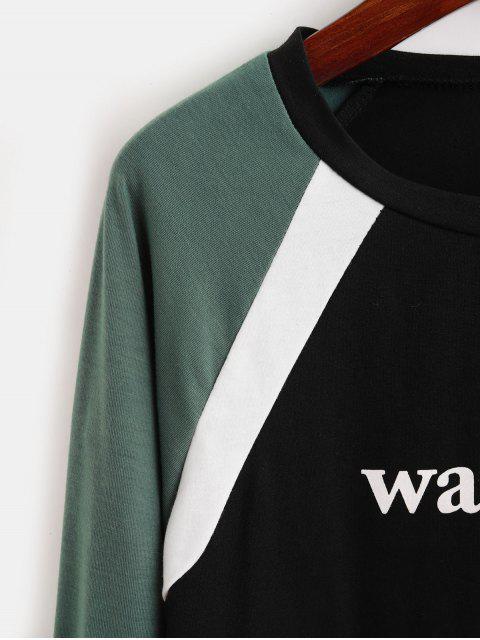 T-shirt Graphique en Blocs de Couleurs à Manches Raglan - Noir XL Mobile