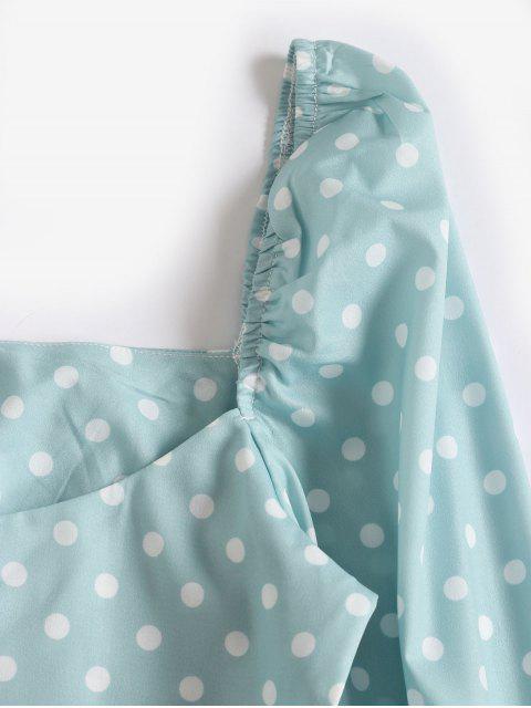 ladies Back Zipper Polka Dot Cropped Blouse - GREEN S Mobile
