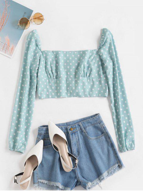 outfit Back Zipper Polka Dot Cropped Blouse - GREEN L Mobile