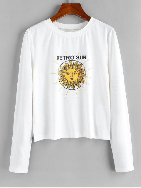 buy ZAFUL Retro Sun Print Long Sleeve Casual T-shirt - WHITE S Mobile