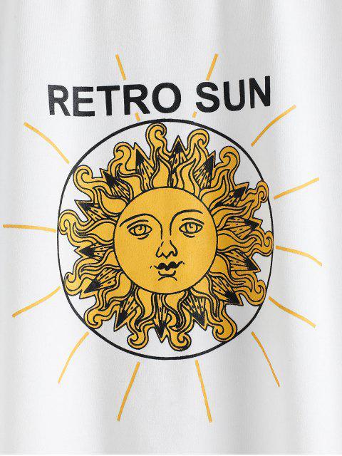 shops ZAFUL Retro Sun Print Long Sleeve Casual T-shirt - WHITE L Mobile