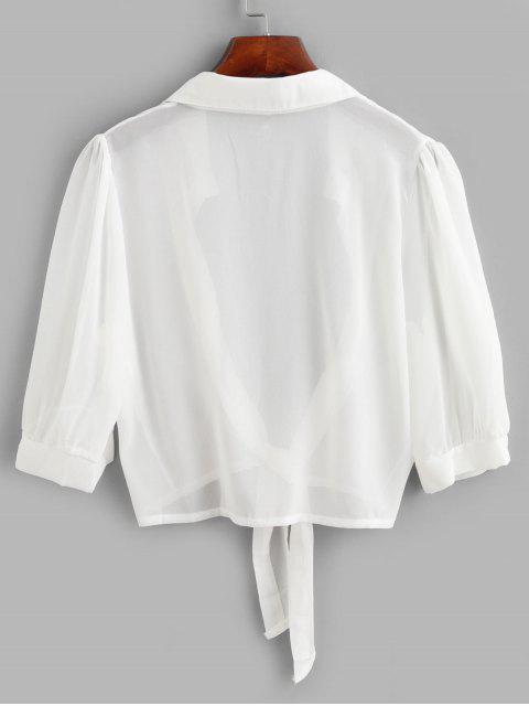 women Tie Hem Semi Sheer Crop Cover Up Top - WHITE ONE SIZE Mobile