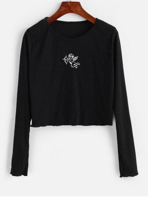 hot Ribbed Angel Embroidered Long Sleeve Tee - BLACK S Mobile