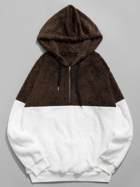 chic Colorblocking Spliced Half Zipper Faux Fur Hoodie - COFFEE 2XL Mobile