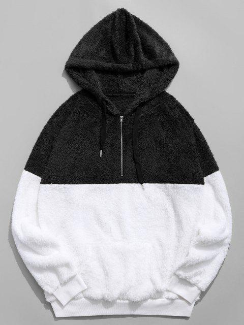 fashion Colorblocking Spliced Half Zipper Faux Fur Hoodie - BLACK S Mobile