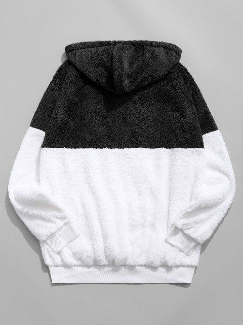 fashion Colorblocking Spliced Half Zipper Faux Fur Hoodie - BLACK L Mobile